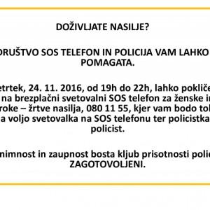 Policije in Društva SOS telefon za ženske in otroke – žrtve nasilja na predvečer mednarodnega dneva proti nasilju nad ženskami