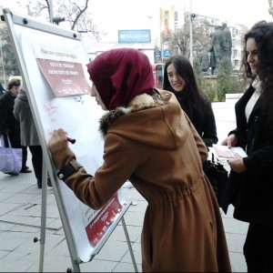 Street action to promote I Sign Campaign